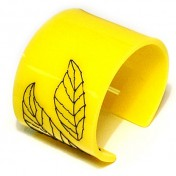 YELLOW PERSPEX CUFF – Leaf Stitch