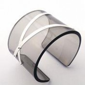 GREY PERSPEX CUFF – Two Silver Strips