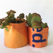 Upcycled planter – Special offer – Orange size S & M – no strap – Growbag