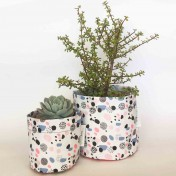 Upcycled planter – Limited Edition – Design print range – Dotty Pastel – size M – Growbag