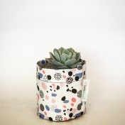 Upcycled planter – Limited Edition – Design print range – Dotty Pastel – size S – Growbag