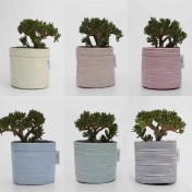 Upcycled planter – Limited Edition – Hand-drawn stripy design range – Six colours – Size M – Growbag