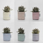 Upcycled planter – Limited Edition – Hand-drawn stripy design range – Six colours – Size S – Growbag