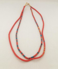 Snake Bead Necklaces – Coral-Blue – Set of 2