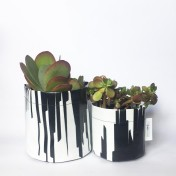 Upcycled planter – Special offer – Black-White size S & M – no strap – Growbag